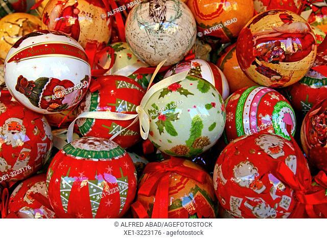 Christmas balls, Barcelona, Catalonia, Spain