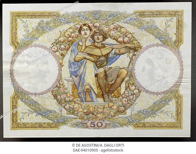 50 francs banknote, 1930, reverse, allegory of science and work. France, 20th century