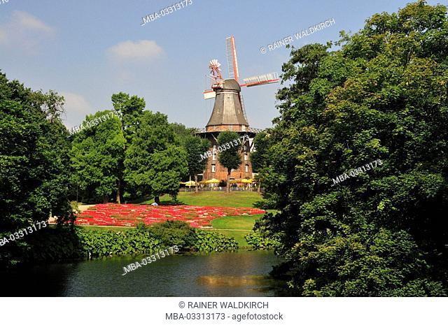 Germany, free Hanseatic town Bremen, rampart, mill in the rampart