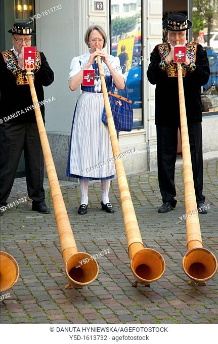 group of musicians playing on traditional alpine horns, Vevey, Vaud, Switzerland