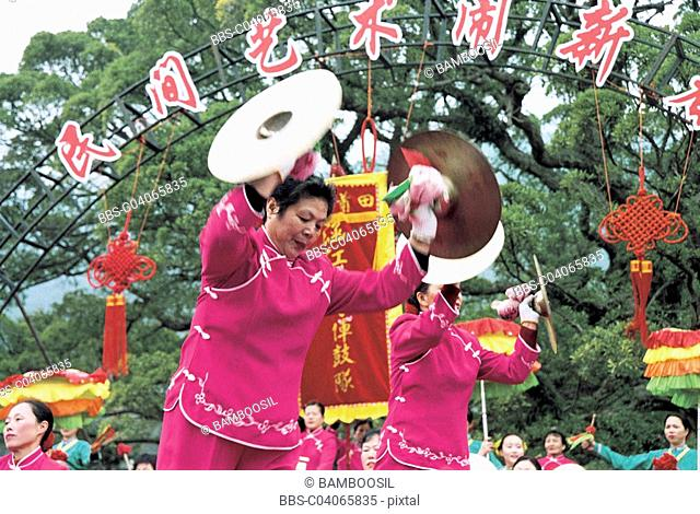 Winter jasmine folk art performance in country forest park, Fuzhou City, Fujian Province of People's Republic of China