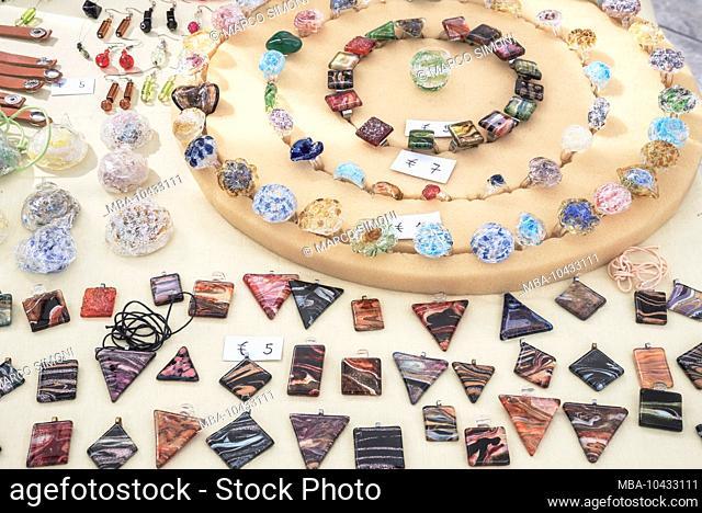 Glass jewelry, Palermo, Sicily, Italy, Europe