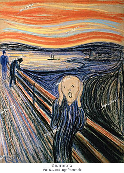 fine arts, Munch, Edvard, (1863 - 1944), painting, 'the scream', 1895, pastel on cardboard, 59 cm x 79 cm, private collection, Oslo, historic, historical