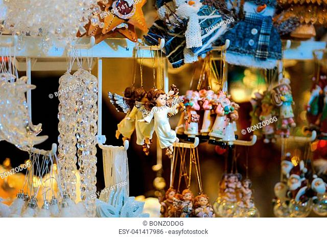 Traditional Christmas market with handmade souvenirs, Strasbourg, Alsace