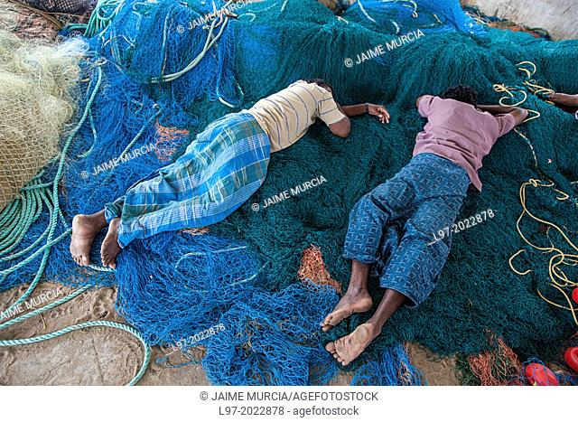 Fishermen sleep on their nets after returning from fishing in the Bay of Bengal, Tamil Nadu state, South India