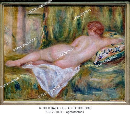 Auguste Renoir, . Nu couché, vu de dos, . vers 1909, . huile sur toile, Orsay Museum, Paris, France, Western Europe