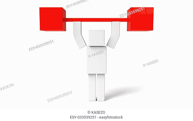 simple 3d cubic character, lifting weight. isolated on white