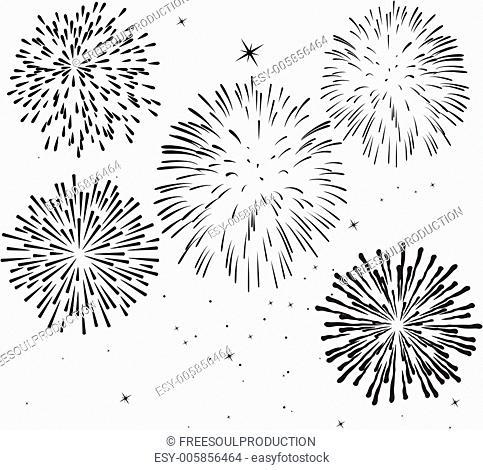 vector black and white fireworks