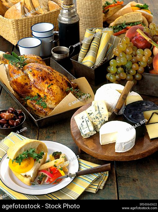 Picnic Buffet with Cheese, Roast Turkey and Sandwiches