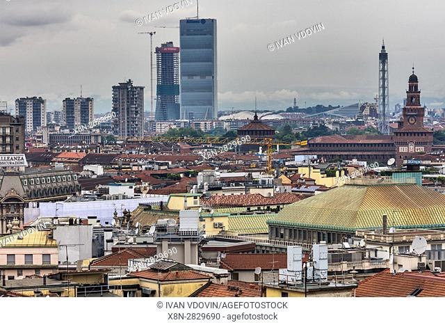View from the roof of Cathedral, modern city, Milan, Lombardy, Italy