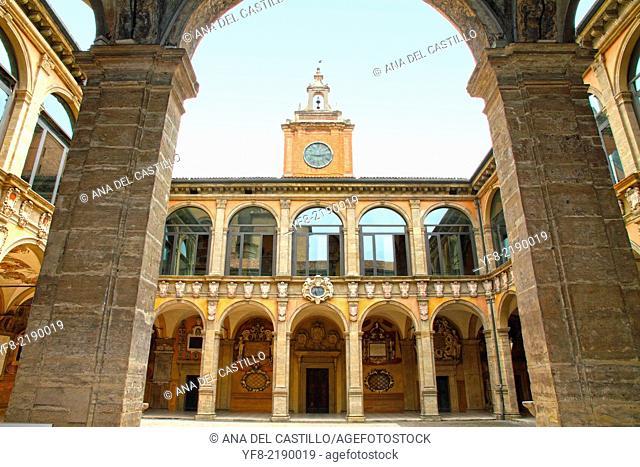 Piazza Galvani, Archiginnasio library, Bologna, Emilia Romagna, Italy