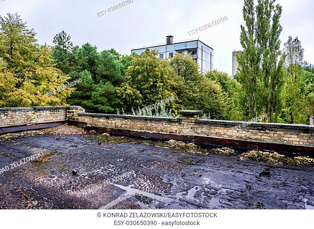 Roof of High school No 3 in Pripyat ghost city of Chernobyl Nuclear Power Plant Zone of Alienation around nuclear reactor disaster in Ukraine