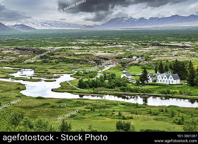 Þingvellir, Iceland, was the site of the Alþing, the annual parliament of Iceland from 930 CE until the last session held at Þingvellir in 1798 CE