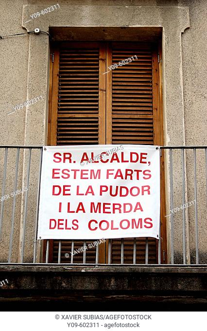 Banner on a balcony. Molins de Rei, Baix Llobregat, Barcelona province. Spain