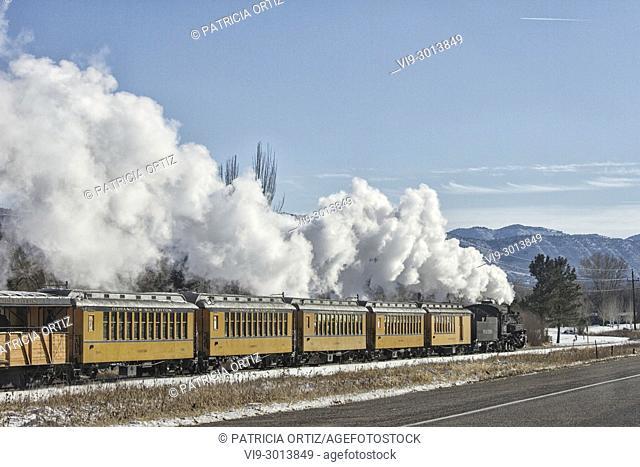 Train running in Durango, Colorado, USA