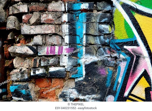 Grunge brick wall. Messy old urban background