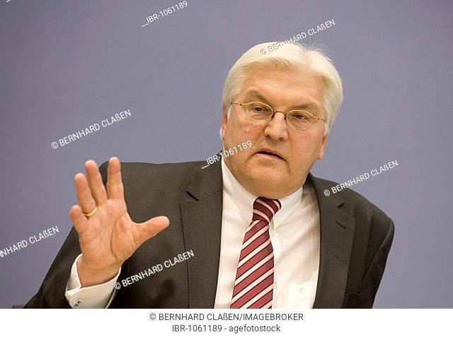Frank-Walter Steinmeier, federal foreign minister, vice chancellor and federal party chairman of the SPD, during the federal press conference, Berlin, Germany