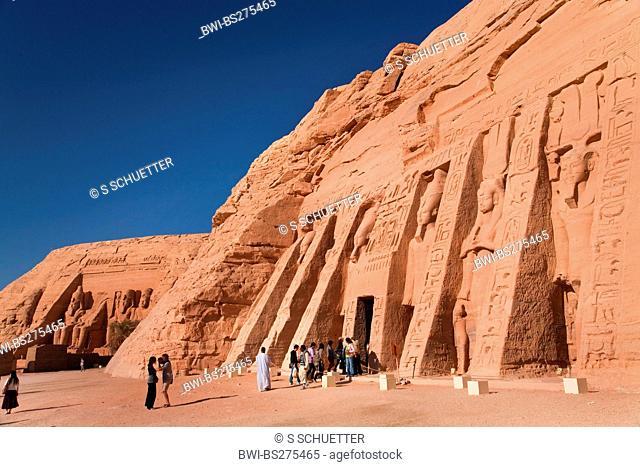 Abu Simbel temples with temple of Hathor and Nefertari, the Small Temple, Egypt, Abu Simbel