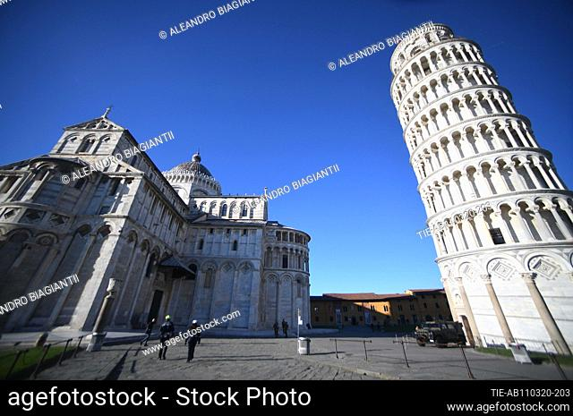 A view of Square of Miracles and Pisa Tower closed to pblic due Coronavirus oubreak  Pisa, ITALY-11-03-2020