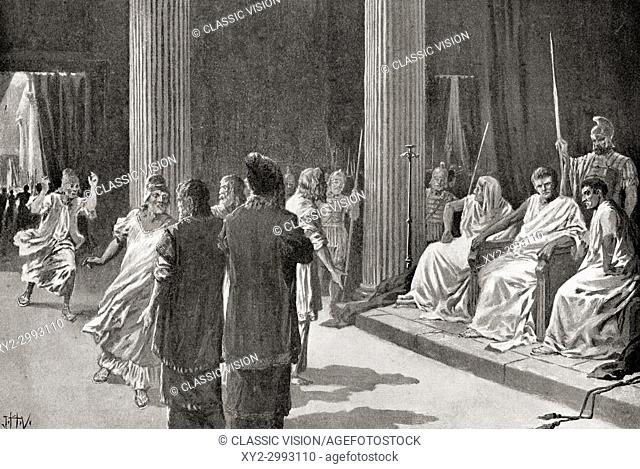 The Jews before Caligula petitioning him to revoke the edict that his image be worshipped throughout Judaea. Caligula, AD 12 - AD 41, aka Gaius Caesar