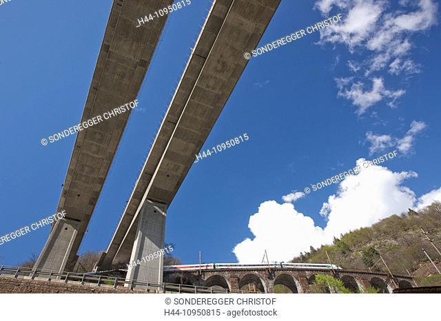 Switzerland, Europe, canton, TI, Ticino, Southern Switzerland, bridge, traffic, spring, Biaschina, railroad, viaduct, Giornico, highway