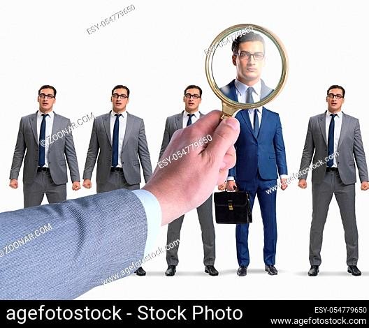 The recruitment and employment concept with selected employee