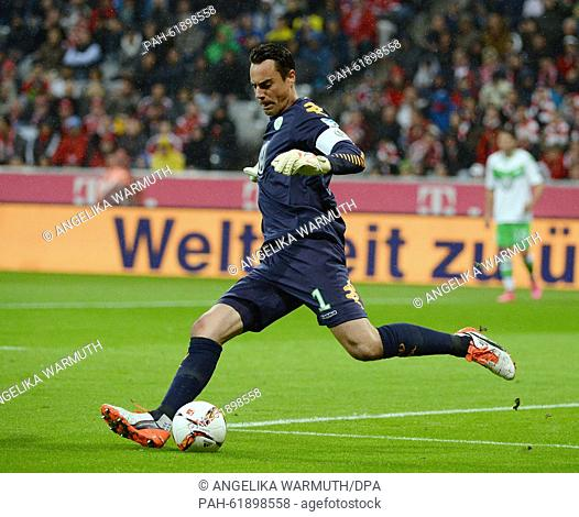 Wolfsburg's goalkeeper Diego Benaglio in action during the German Bundesliga soccer match between FC Bayern Munich and VfL Wolfsburg at Allianz Arena in Munich