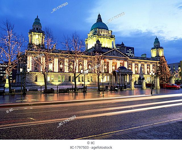 Facade Of A Building Lit Up At Dusk, Belfast City Hall, Belfast, Northern Ireland