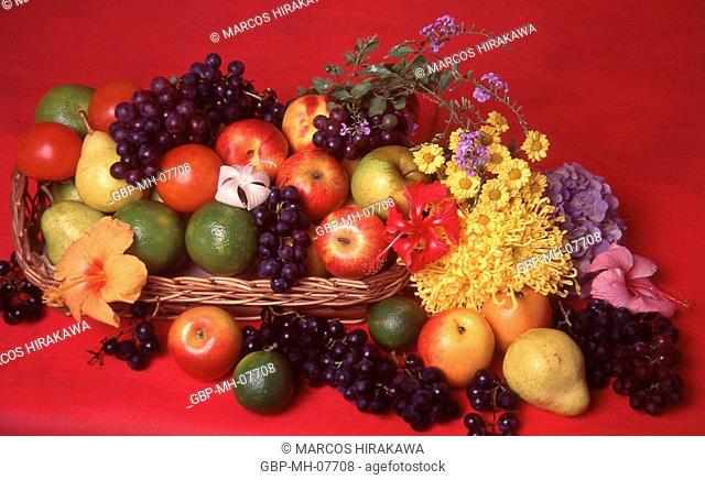 basket of tropical fruits