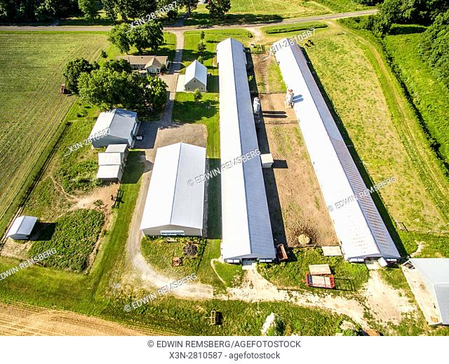 Aerial view of chicken houses located on a farm in Federalsburg, Maryland
