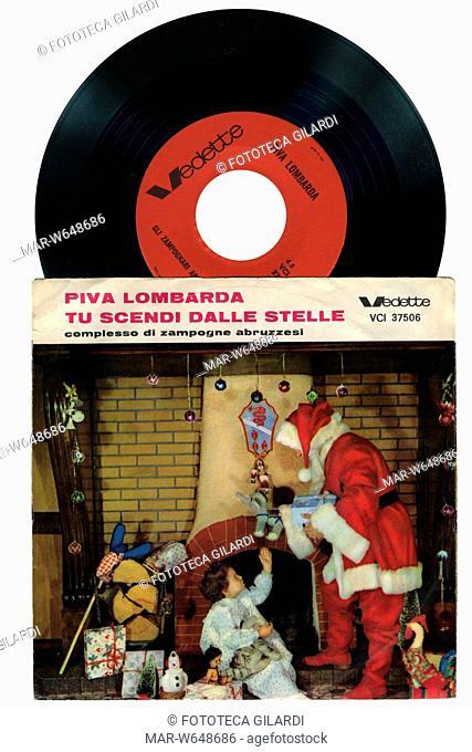 NATALE musica tradizionale natalizia - Piva Lombarda - Tu scendi dalle stelle - Complesso di Zampognari Abuzzesi Copertina da disco 45 giri - 1965 circa