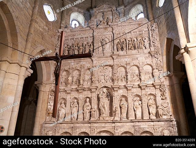 Alabaster altarpiece (16th century) by Damian Forment in the church, Cistercian Royal Abbey, Monastery of Santa Maria de Poblet, Tarragona province, Catalonia