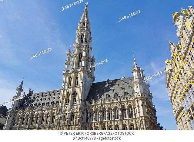 Hotel de Ville, Stadhuis van Brussel, town hall, Grand Place, Grote Markt, main square, Brussels, Belgium
