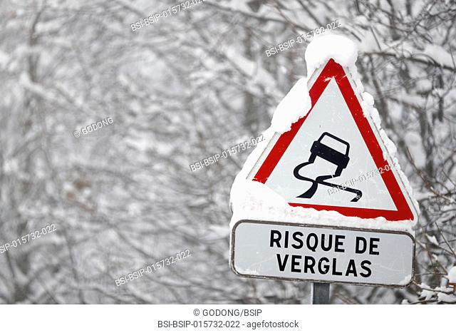 Mountain road in winter. Road signs. Saint-Gervais. France