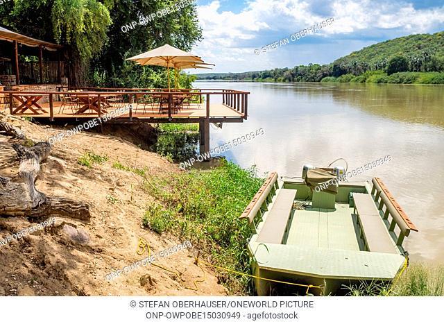 Namibia, Kunene, Kaokoland, terrace of the Kunenen River Lodge, Kunene River Lodge
