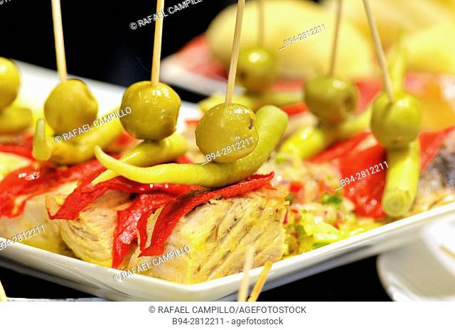 Pintxos or Tapas. Food very Typical in the Basque country. Spain