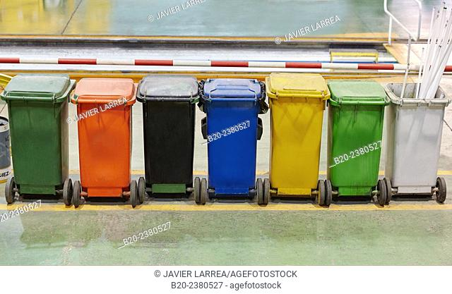 Buckets of waste for recycling. Industry