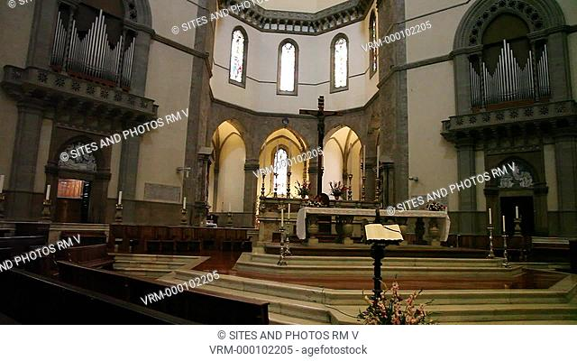 Interior, PAN, View of the High Altar in the Cathedral's Crossing. Seen is the eastern apse the Altar of St. Zenobius and the Blessed Sacrament and church...