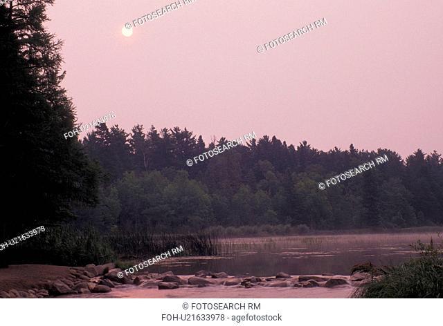 Itasca State Park, MN, Minnesota, Park Rapids, Mississippi River, Lake Itasca at sunrise, the source of the Mississippi River, in Itasca State Park