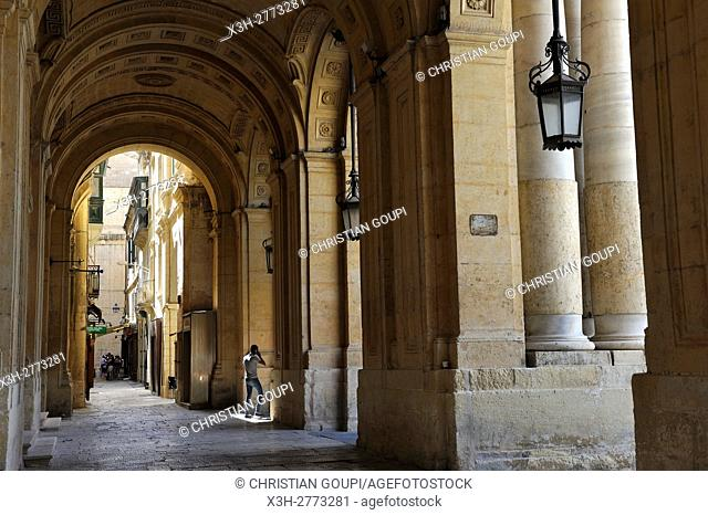 arcated gallery at National Library, Valletta, Malta, Southern Europe