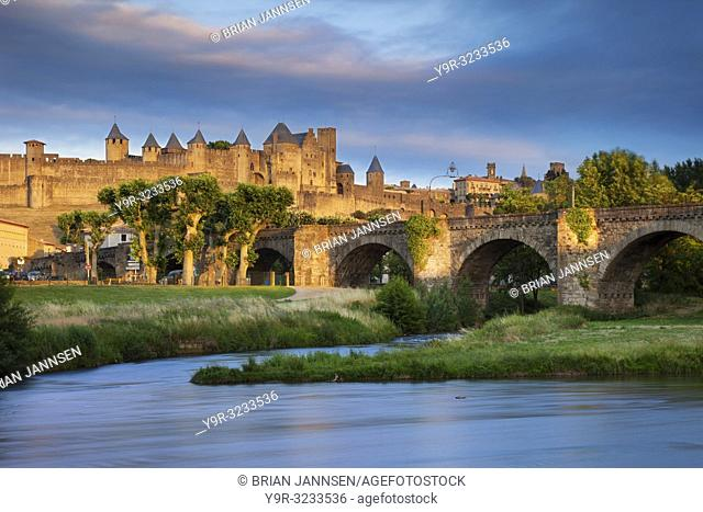 Setting sunlight over town of Carcassonne and River Aude, Languedoc-Roussillon, France