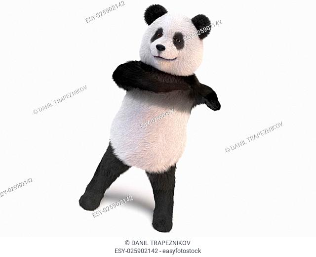 furry panda stands on two legs and makes twisting the body
