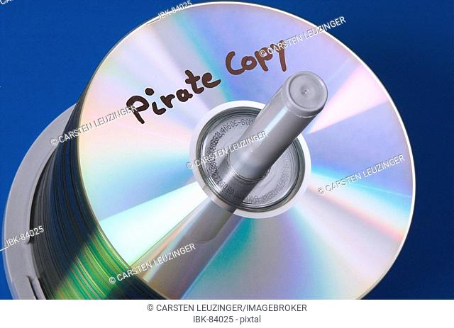 Stack of CD media labeled Pirate Copy