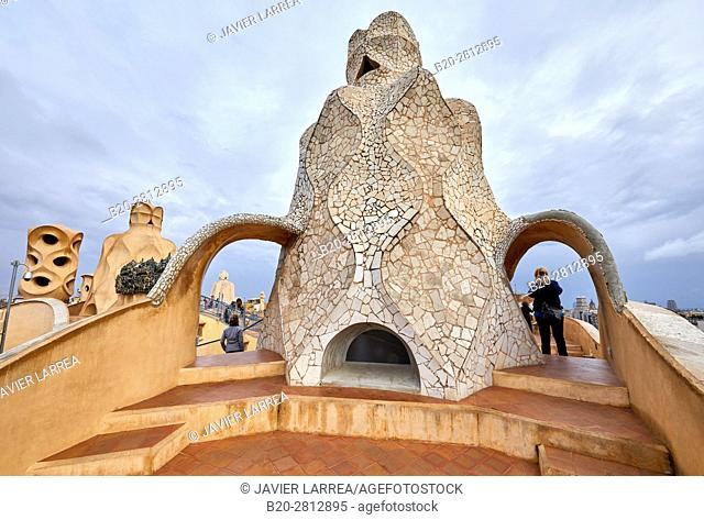 Chimneys on the rooftop of Casa Mila, La Pedrera building, Antoni Gaudi, Barcelona, Catalonia, Spain