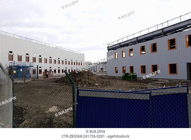 Construction of new warehouses, Beckton, East London, UK
