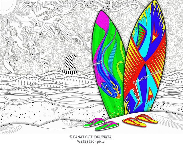 Illustration of multicolored surfboards and slippers at beach representing summer vacation