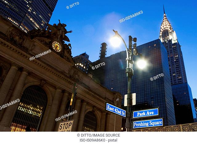 Grand Central Station and Chrysler Building at dusk, New York City, USA