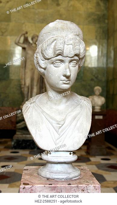 Portrait bust of Lucilla, wife of the Roman Emperor Lucius Verus, c160-c170. Lucilla (c148-182) was the daughter of Marcus Aurelius and Faustina the Younger