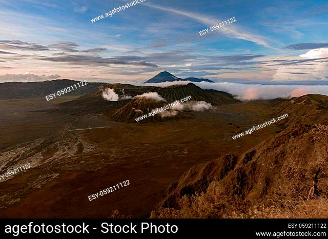 Sunrise View of the active volcano Bromo and Semeru in West Java in Indonesia. Volcano eruption in a national park Bromo Tengger Semeru