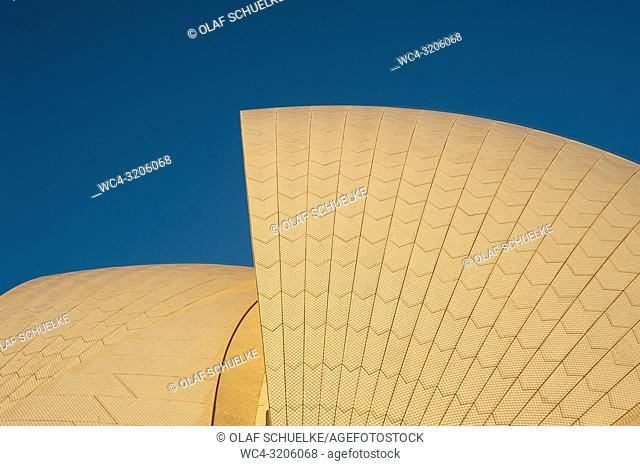 Sydney, New South Wales, Australia - Roof detail of the Sydney Opera House, one of the city's two famous landmarks